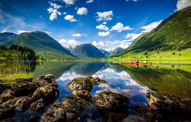 Photo wallpaper mountains, lake, Norway, Norway, kayak, Sogn and Fjordane, Heimdall