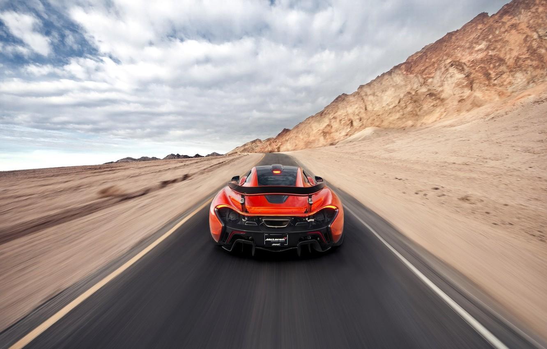 Photo wallpaper McLaren, Orange, Speed, Death, Sand, Supercar, Valley, Hypercar, Exotic, Rear, Volcano, Warp