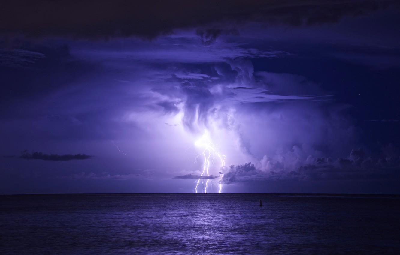 Photo wallpaper sea, the storm, night, clouds, storm, lightning