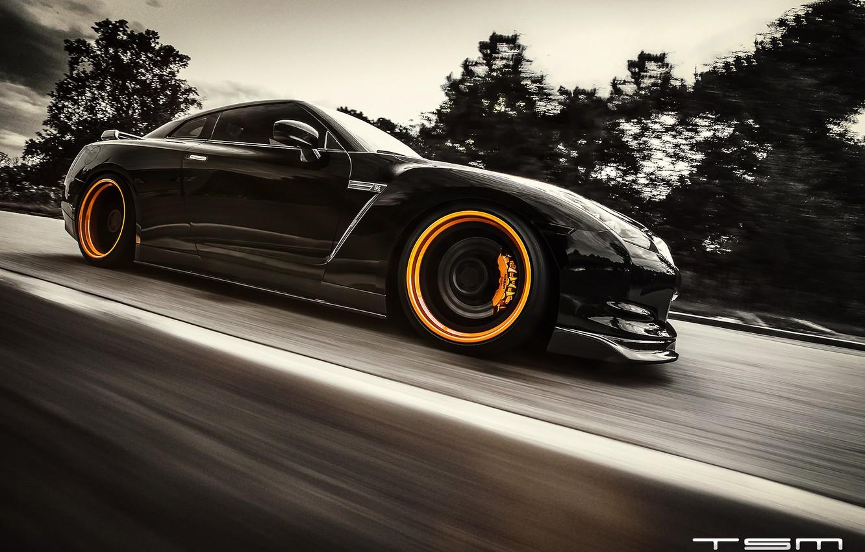 Photo wallpaper road, black, speed, Nissan, GT-R