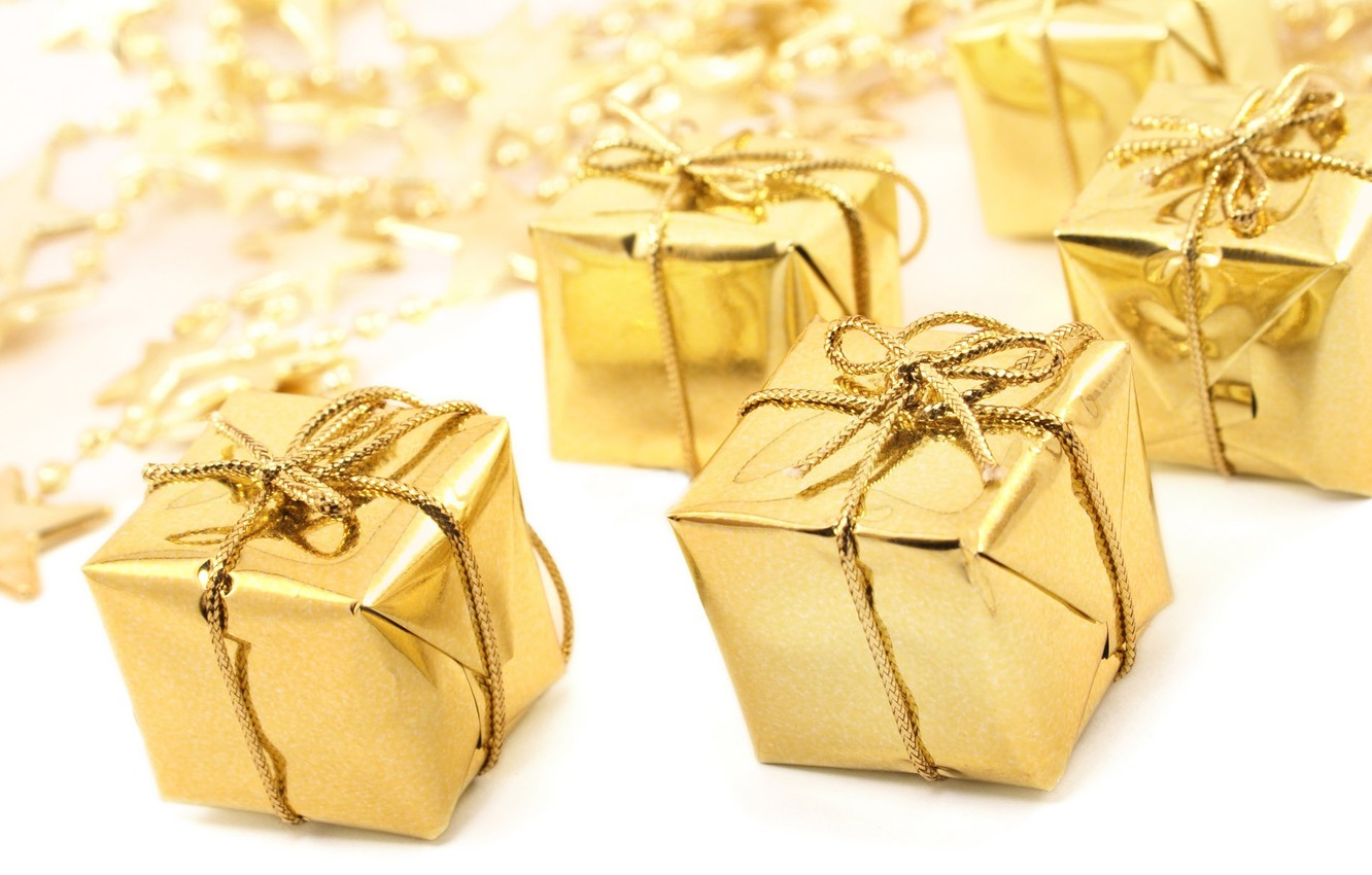 Photo wallpaper holiday, gift, star, new year, tape, gifts, gold, new year, Golden, bow, stars