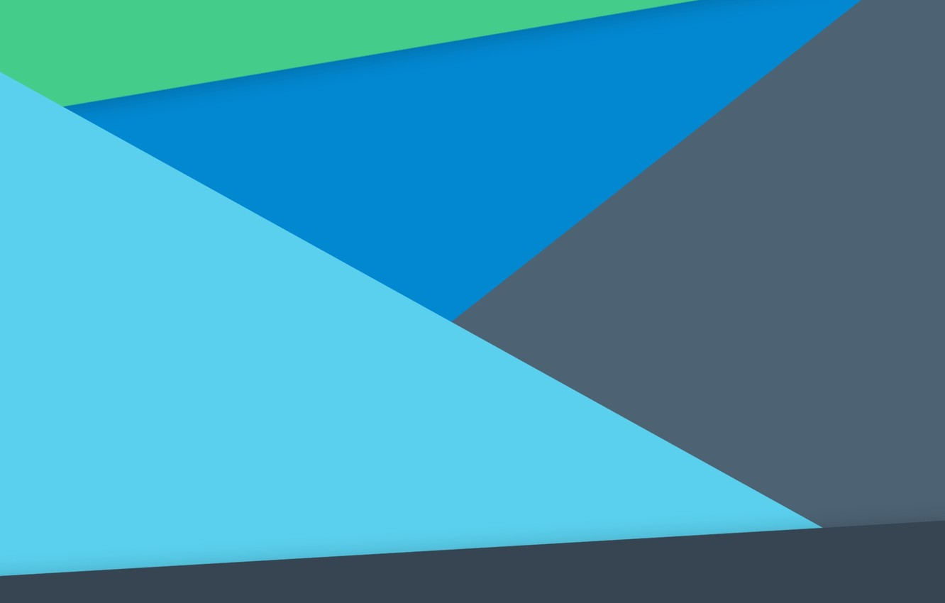 Photo wallpaper Blue, Green, Design, Line, Lollipop, Material, Android 5.0, Triangles
