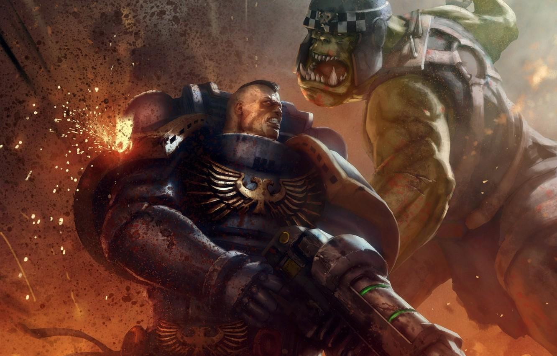 Photo wallpaper fiction, Warhammer 40000, warhammer, art, space marine, Warhammer 40k, orc, ultramarine