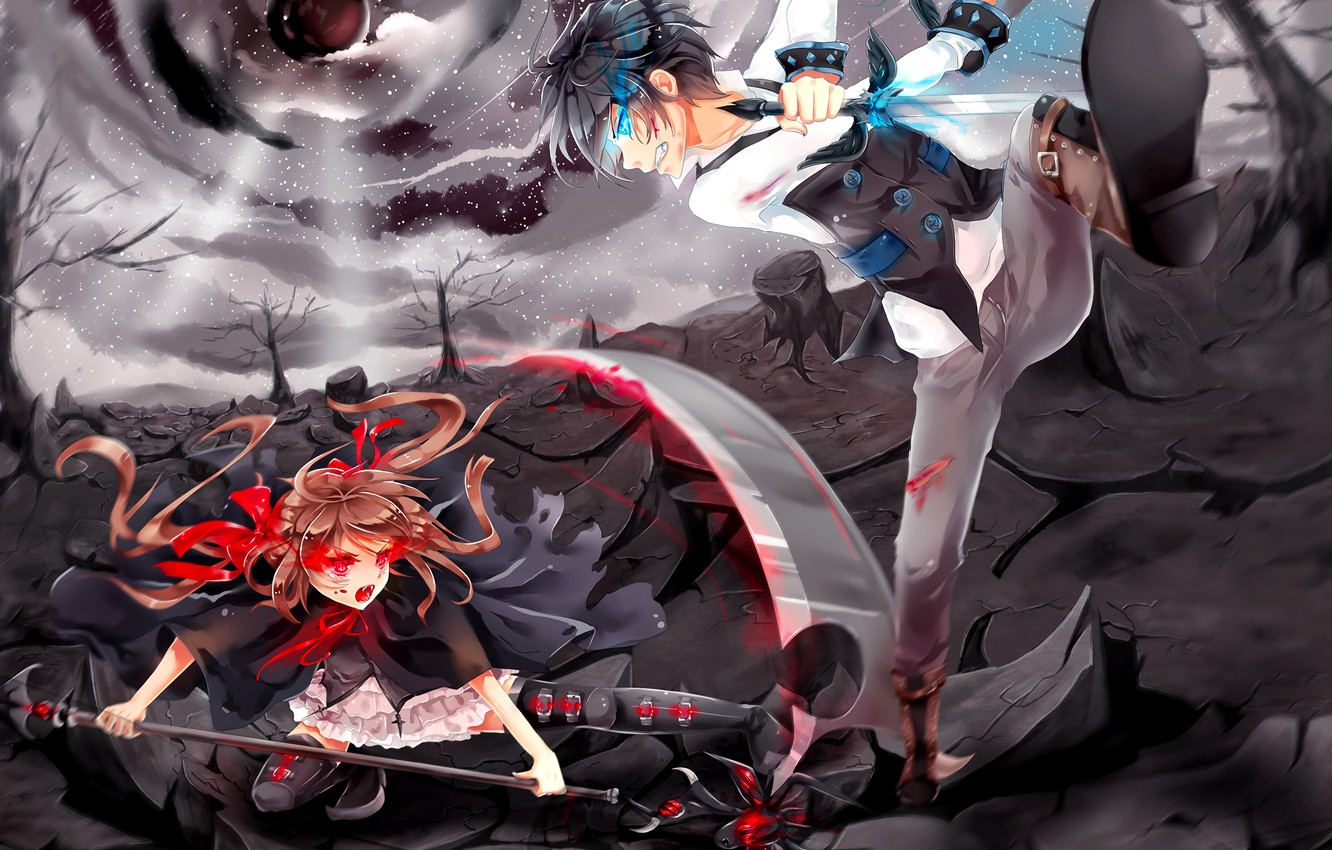 Photo wallpaper the sky, girl, clouds, trees, weapons, blood, sword, anime, art, fangs, scratches, braid, guy, wounds