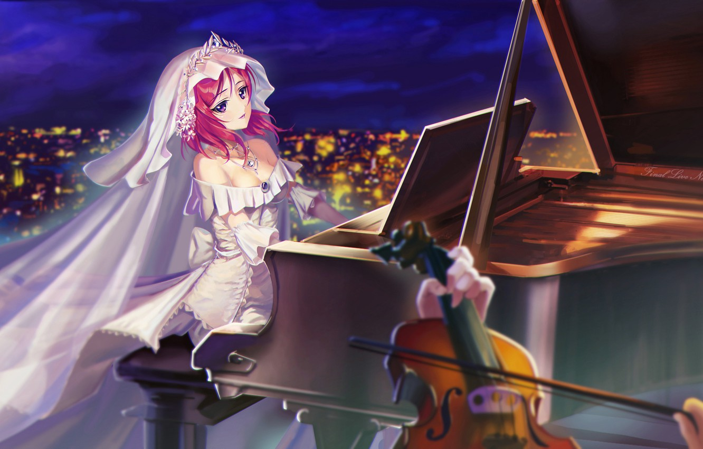 Wallpaper Girl Night The City Lights Violin Anime Piano Art