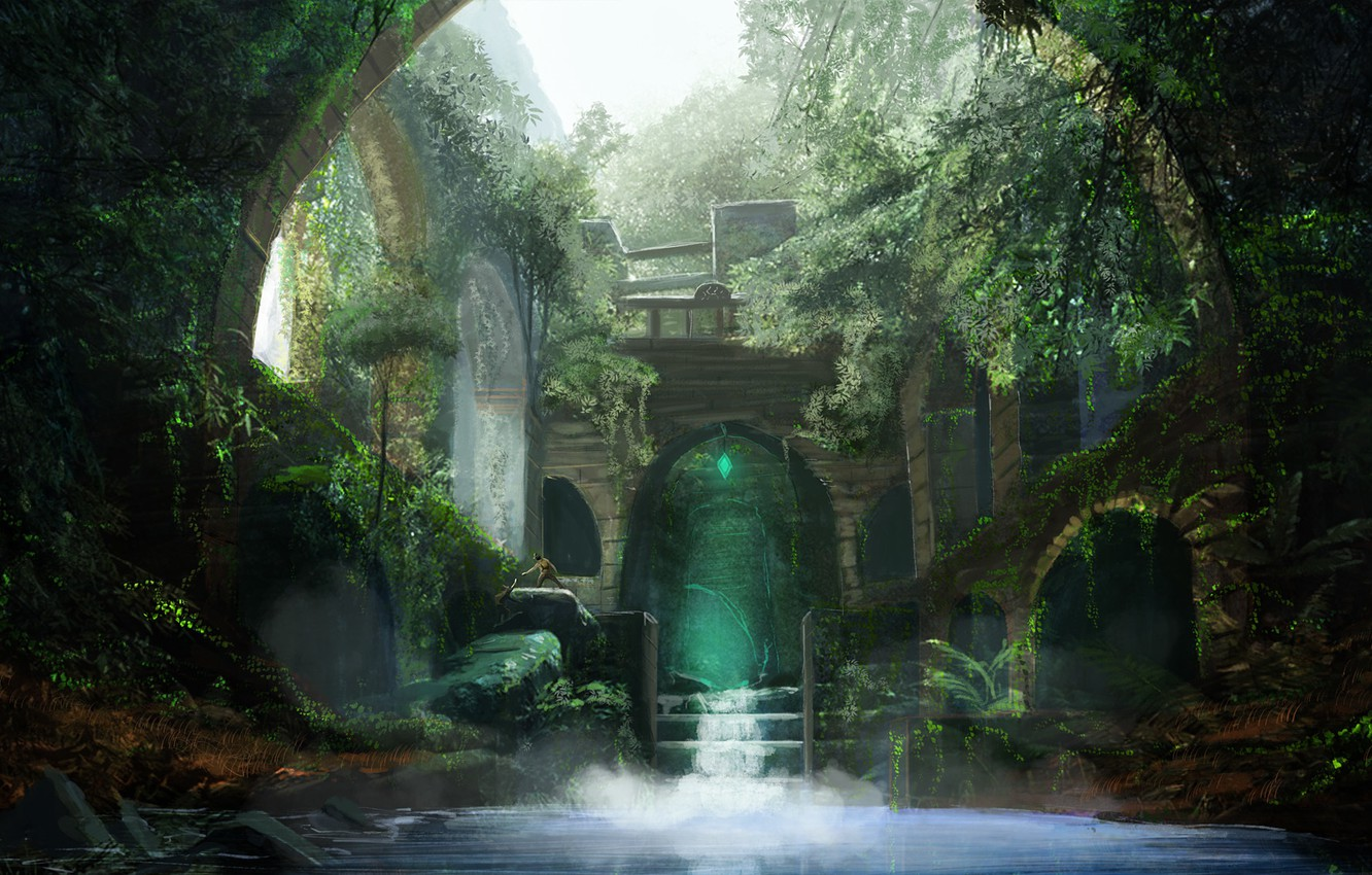 Photo wallpaper water, people, thickets, art, arch, ruins
