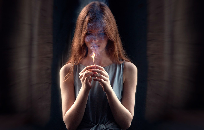 Photo wallpaper girl, fire, smoke, match, last hope, Ekaterina Grabova
