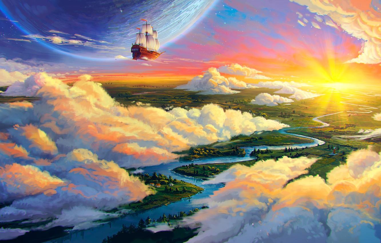 Photo wallpaper clouds, landscape, river, earth, ship, planet, art