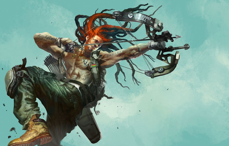 Photo wallpaper metal, weapons, jump, bow, tattoo, art, male, tattoo, dreadlocks