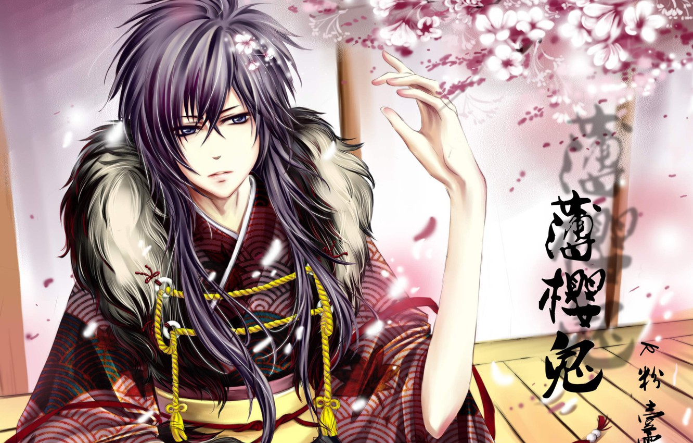 Photo wallpaper flowers, Sakura, samurai, characters, guy, Hakuouki, Saitou Hajime, demons pale cherry, Saito