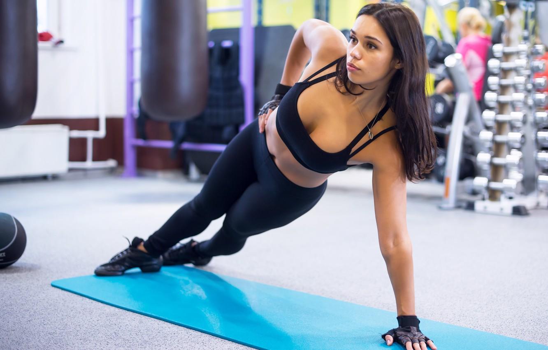 Photo wallpaper brunette, workout, fitness, gym