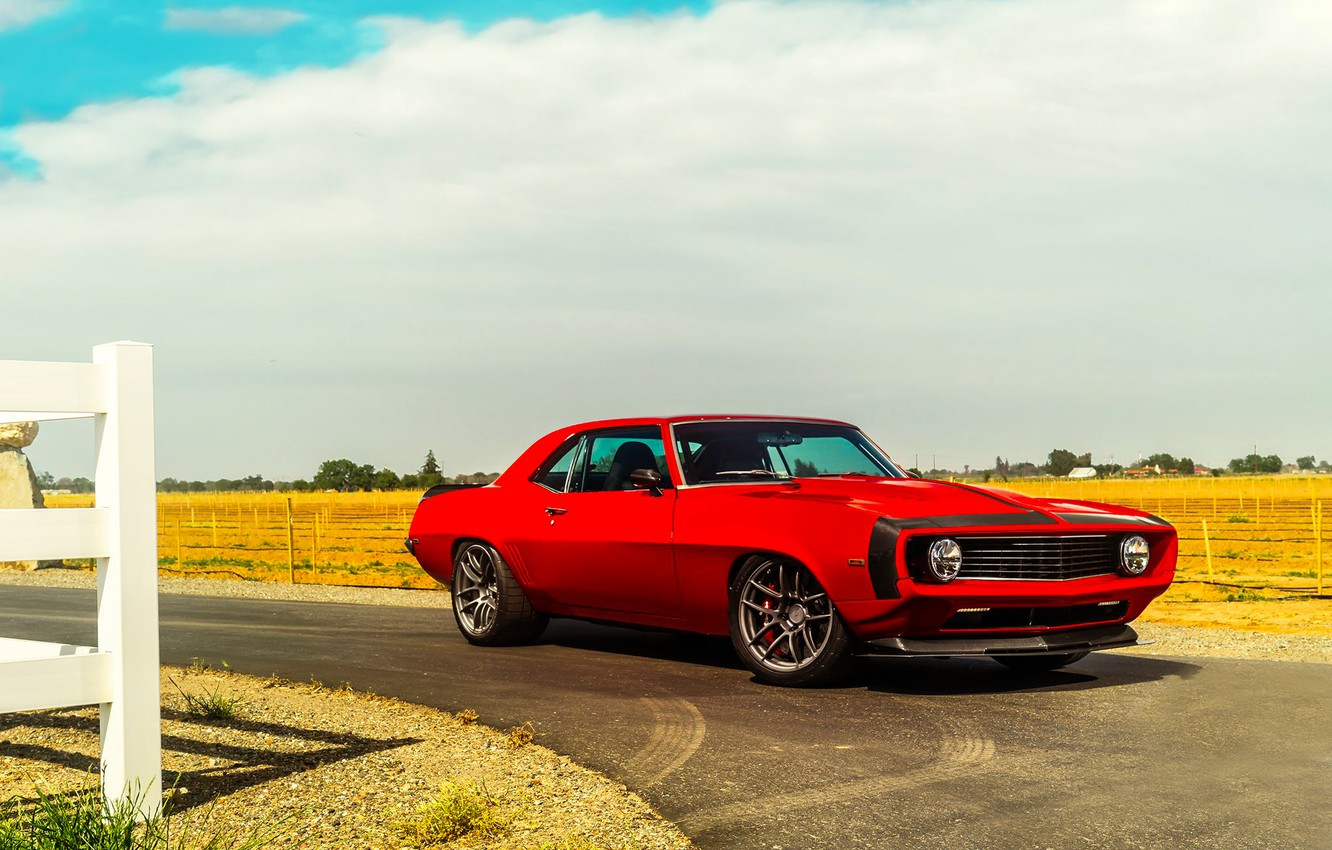 Photo wallpaper Chevrolet, Muscle, 1969, Camaro, Red, Car, Front, Touring, Hellfire, Pro