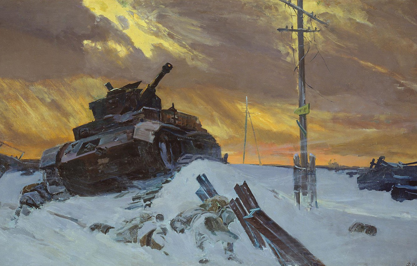 """Photo wallpaper the sky, posts, Picture, tank, The great Patriotic war, """"the Enemy is stopped"""", F Osipenko, …"""