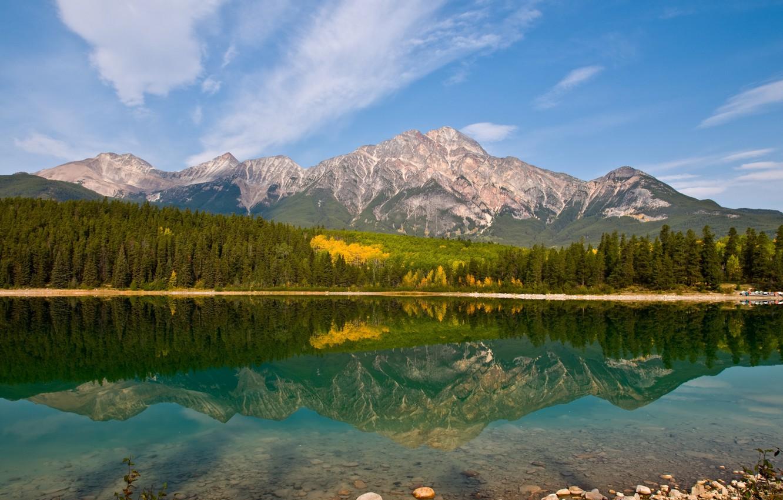 Photo wallpaper mountains, lake, reflection