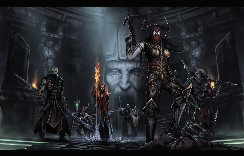 Wallpaper Blizzard, rpg, Diablo III, Monk, Crusader, Demon