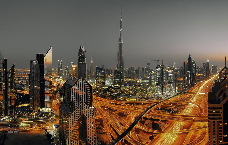 Photo wallpaper Clouds, Dubai, Landscape, Urban, Smoke, Travel, Skyscraper, Foggy
