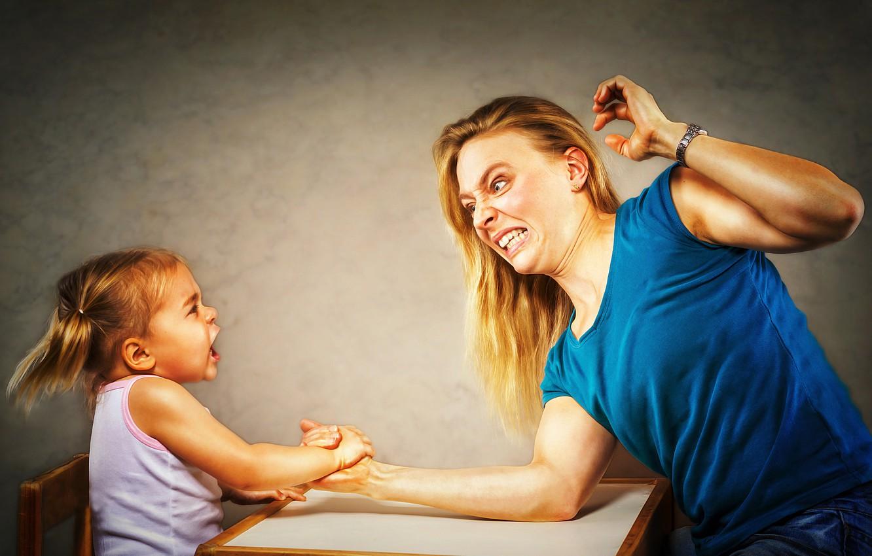 Photo wallpaper victory, girl, mom, Arm Wrestling