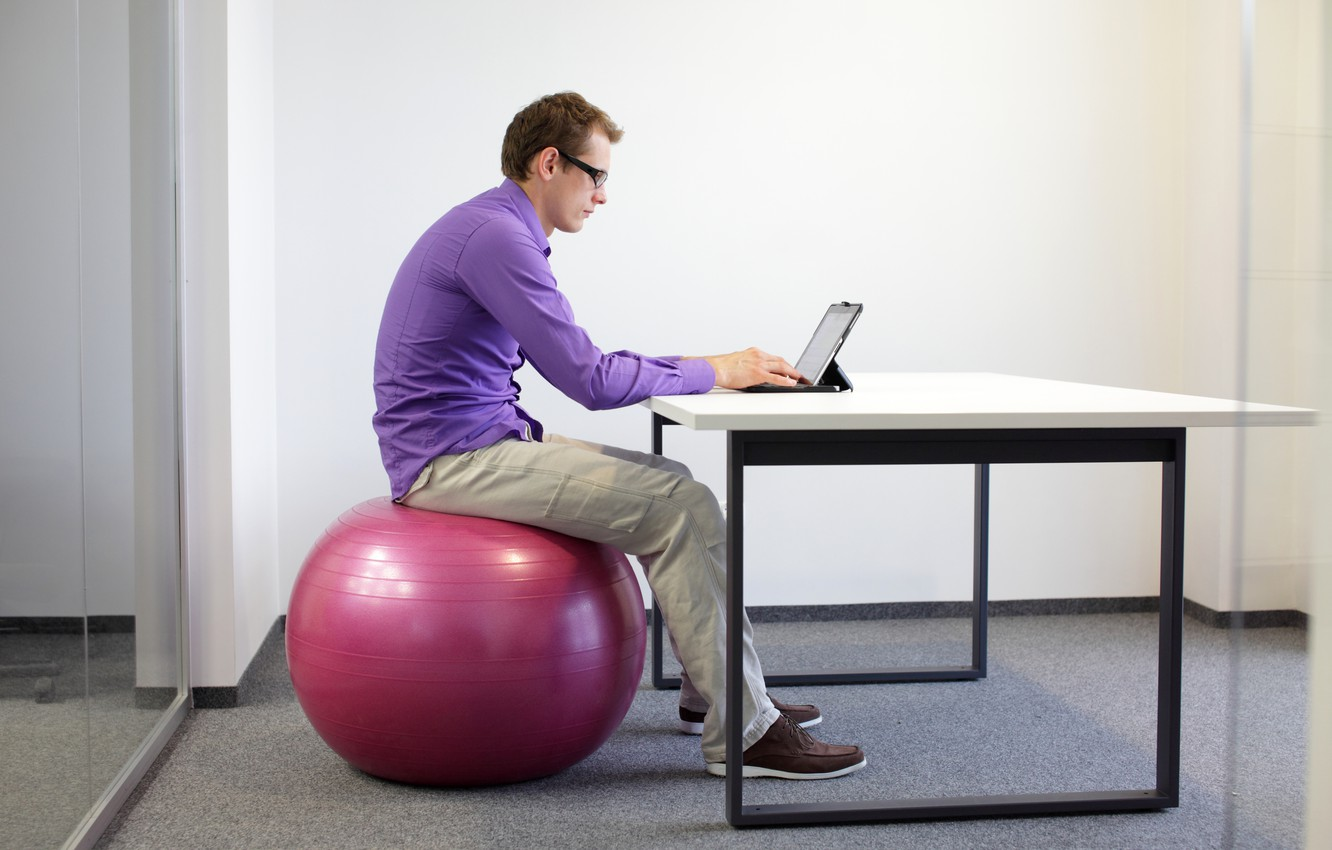Photo wallpaper notebook, office, working, exercise ball