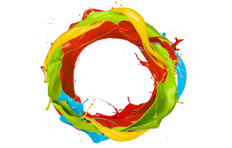 Photo wallpaper drops, squirt, paint, round, colors, ring, design, splash, paint