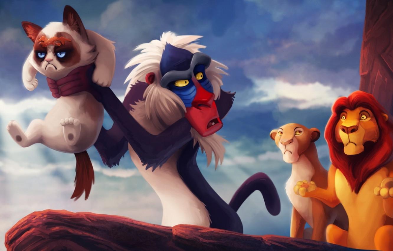 Photo wallpaper cats, cartoon, Leo, king