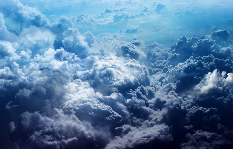 Photo wallpaper the sky, clouds, blue, heaven, color