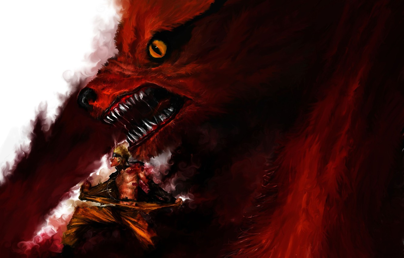 Photo wallpaper animal, blood, the demon, profile, Fox, male, naruto, open mouth, short hair, topless, blonde hair, …