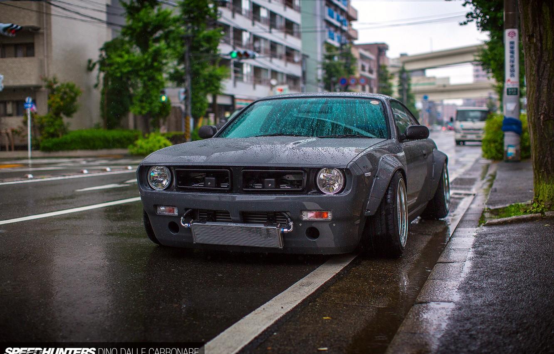Photo wallpaper wet, car, drops, the city, rain, street, Japan, nissan, tuning, silvia, Boss, S14, Rocket Bunny, …