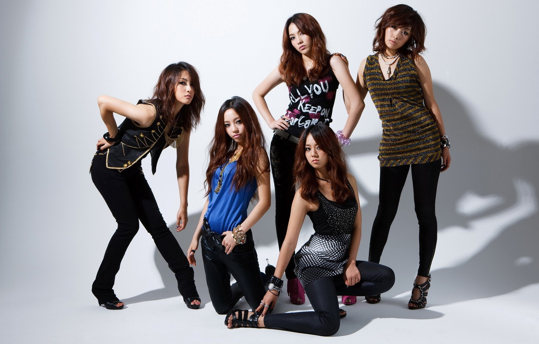 Photo wallpaper girls, white background, beautiful, Asian girls, poses