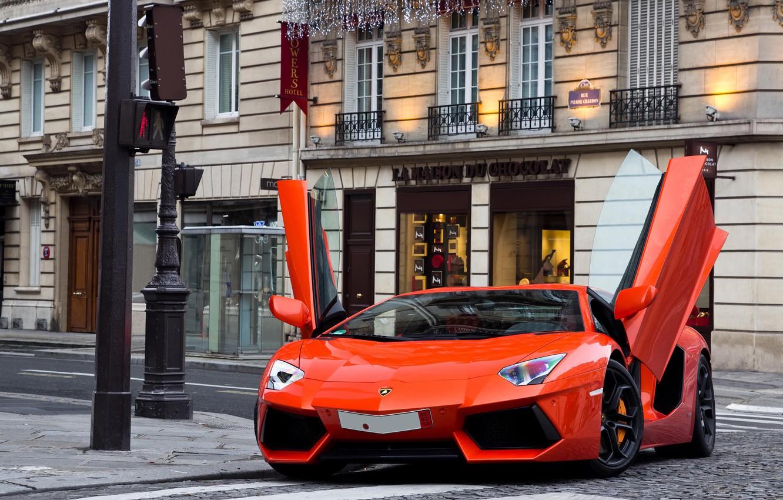 Photo wallpaper street, building, traffic light, supercar, lamborghini, supercar, street, orange, aventador, lp700-4, Lamborghini, aventador, building, orangey, …