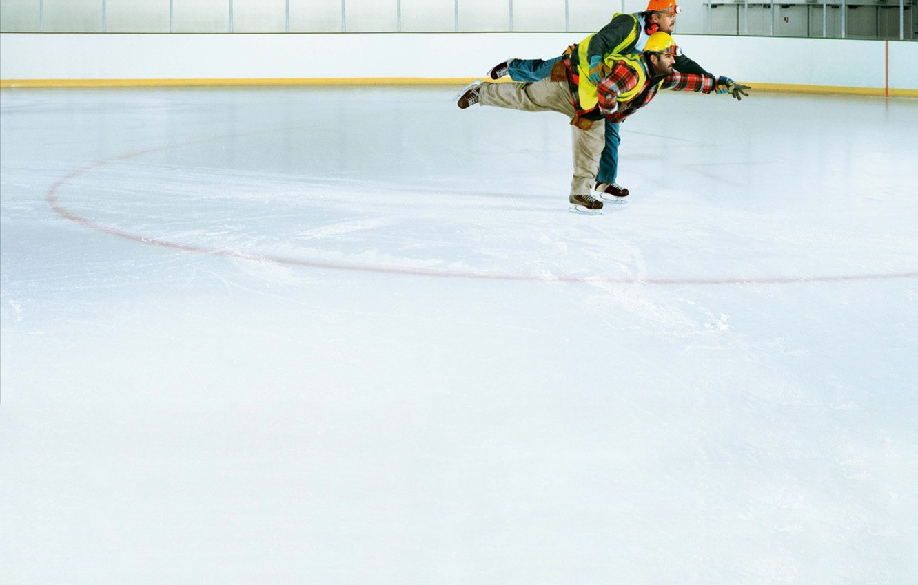 Photo wallpaper humor, Ice, working, skaters