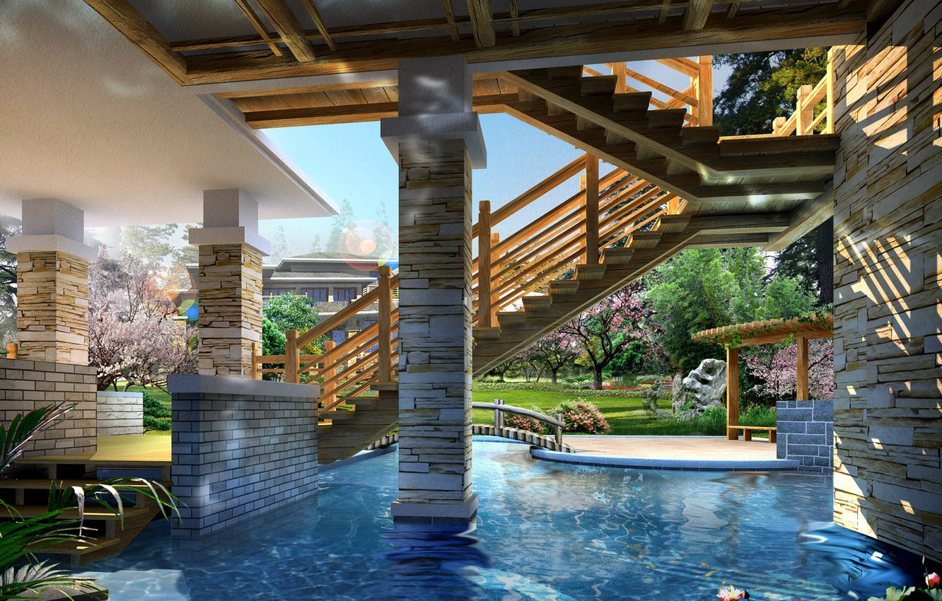 Photo wallpaper stone, wood, water, decoration, pond, stairs, columns