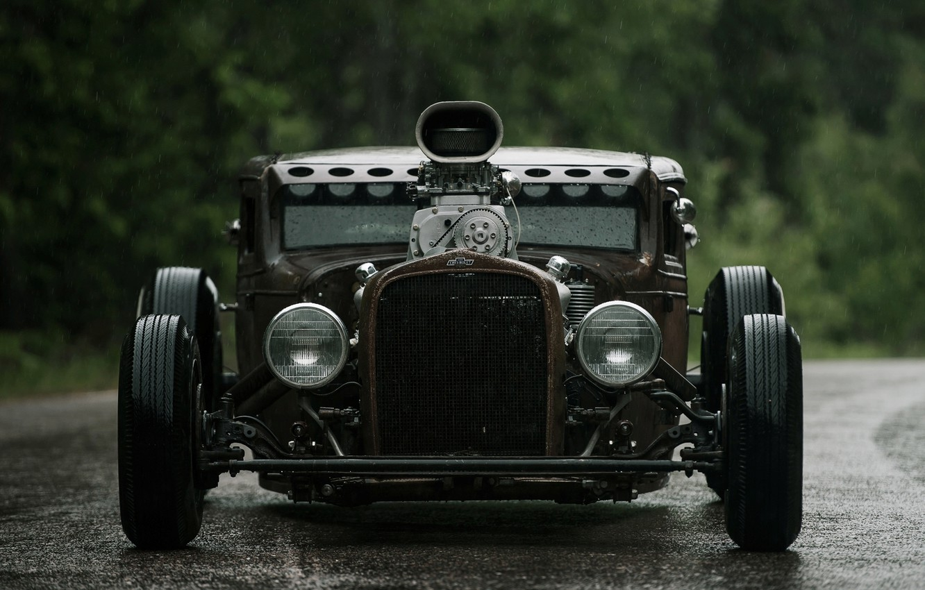 Photo wallpaper Chevrolet, Hot Rod, Chevy, Rat Rod, 540ci, Dyer's Blowers, Air intake, Supercharger