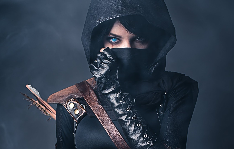 Photo wallpaper Girl, Look, Gloves, Mask, Hood, Strap, Scar, Arrow, Equipment, Thief
