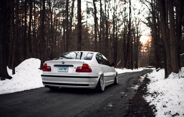Photo wallpaper winter, forest, trees, BMW, BMW, white, E46, 325i