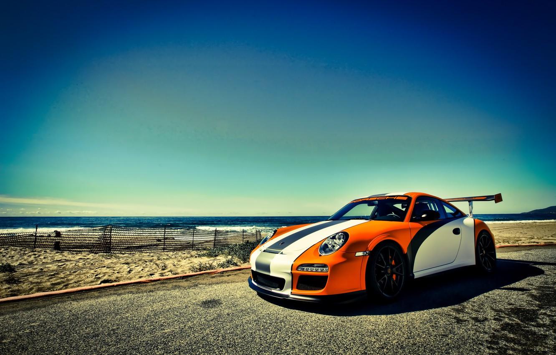 Photo wallpaper sea, the sky, orange, 911, Porsche, Porsche, GT3, orange