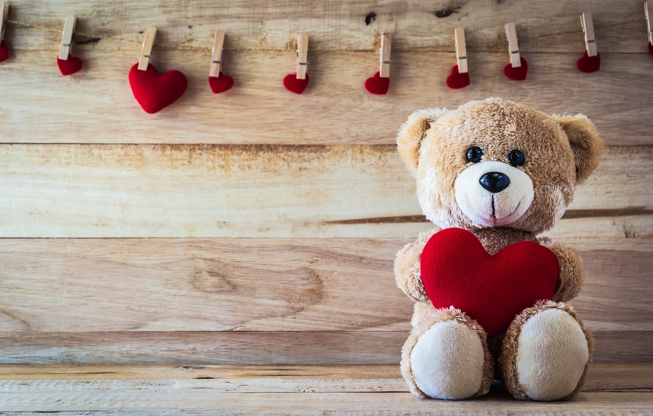 Wallpaper Love Bear Love Toy Bear Heart Romantic Sweet