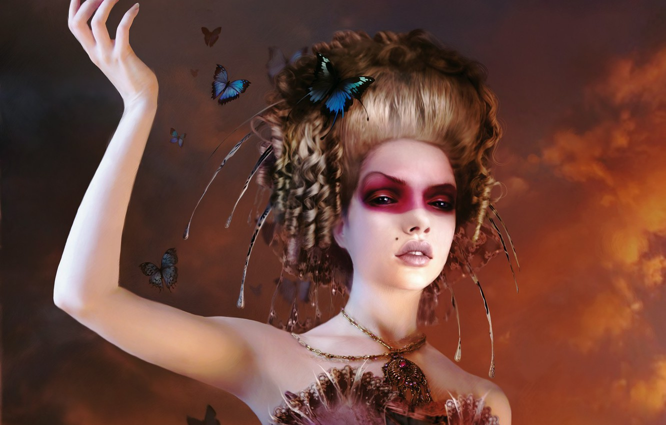Photo wallpaper makeup, Butterfly, hairstyle