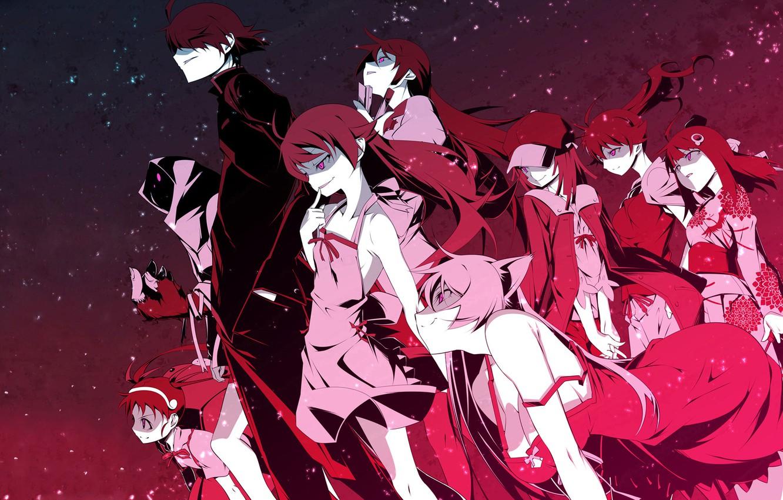 Photo wallpaper Anime, Bakemonogatari, Araragi Koyomi, Sengoku Nadeko, Hachikuji Mayo Believe, Senjougahara Hitagi, Araragi Tsukihi., Oshino Shinobu, …