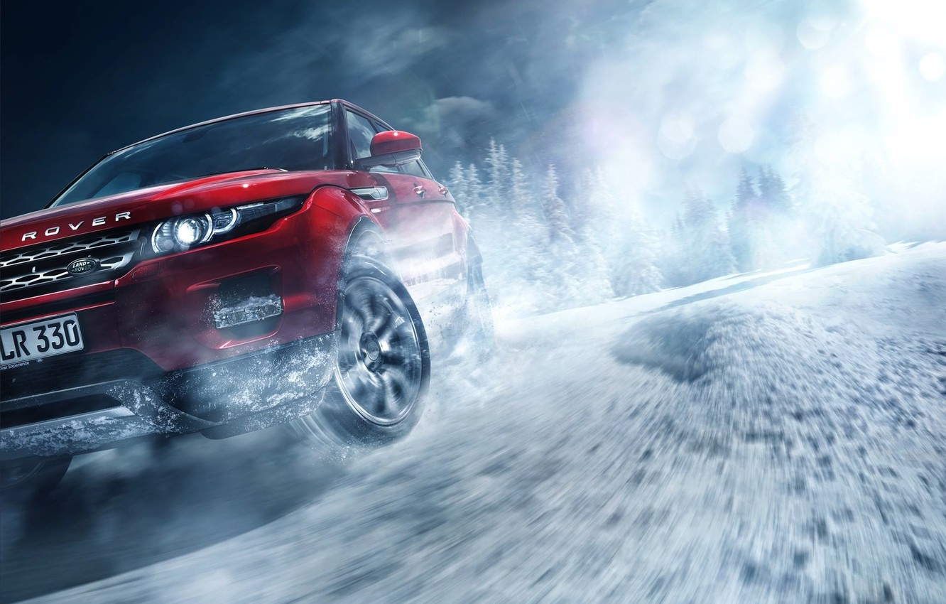 Photo wallpaper Red, Land Rover, Range Rover, Car, Front, Snow, Evoque, Skid