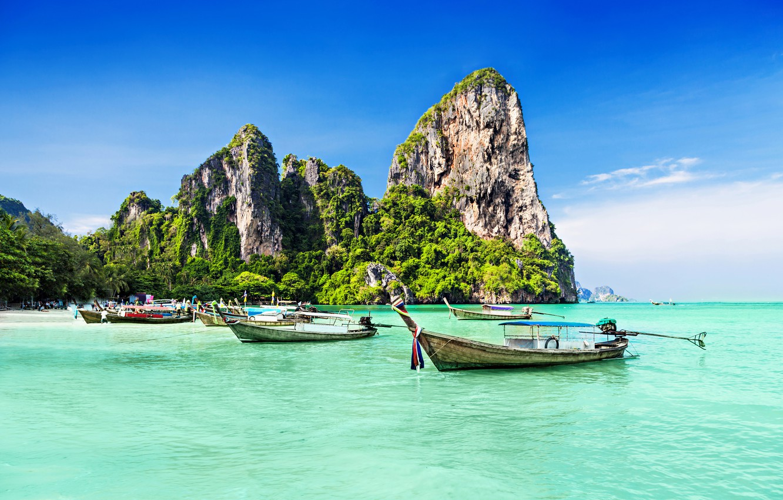 Photo wallpaper sea, trees, rocks, coast, boats, trees, coast, rocks, boats, the sea, Tropical Paradise, Tropical Paradise
