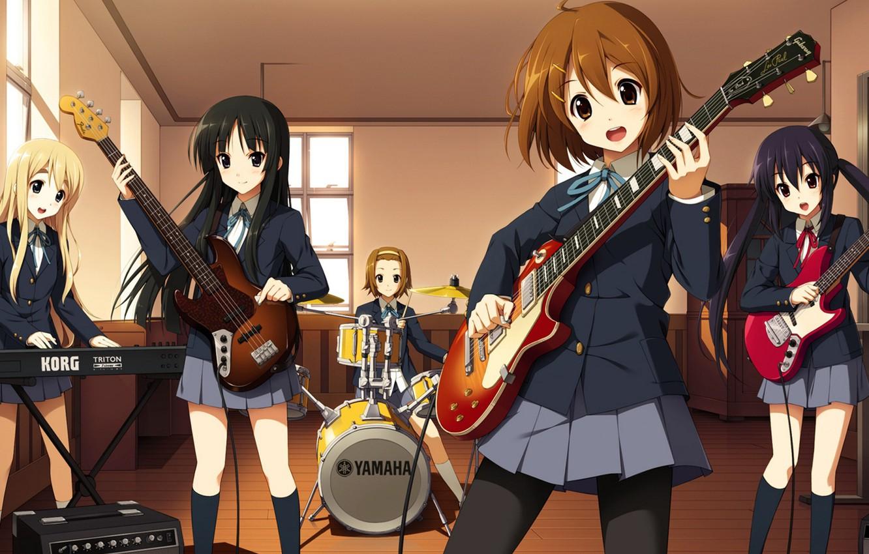 Photo wallpaper Guitar, School, Girls, Girls, K-on, School, Mio Akiyama, Yui Hirasawa, Azusa Nakano, Cajon, Class, keyboards, …