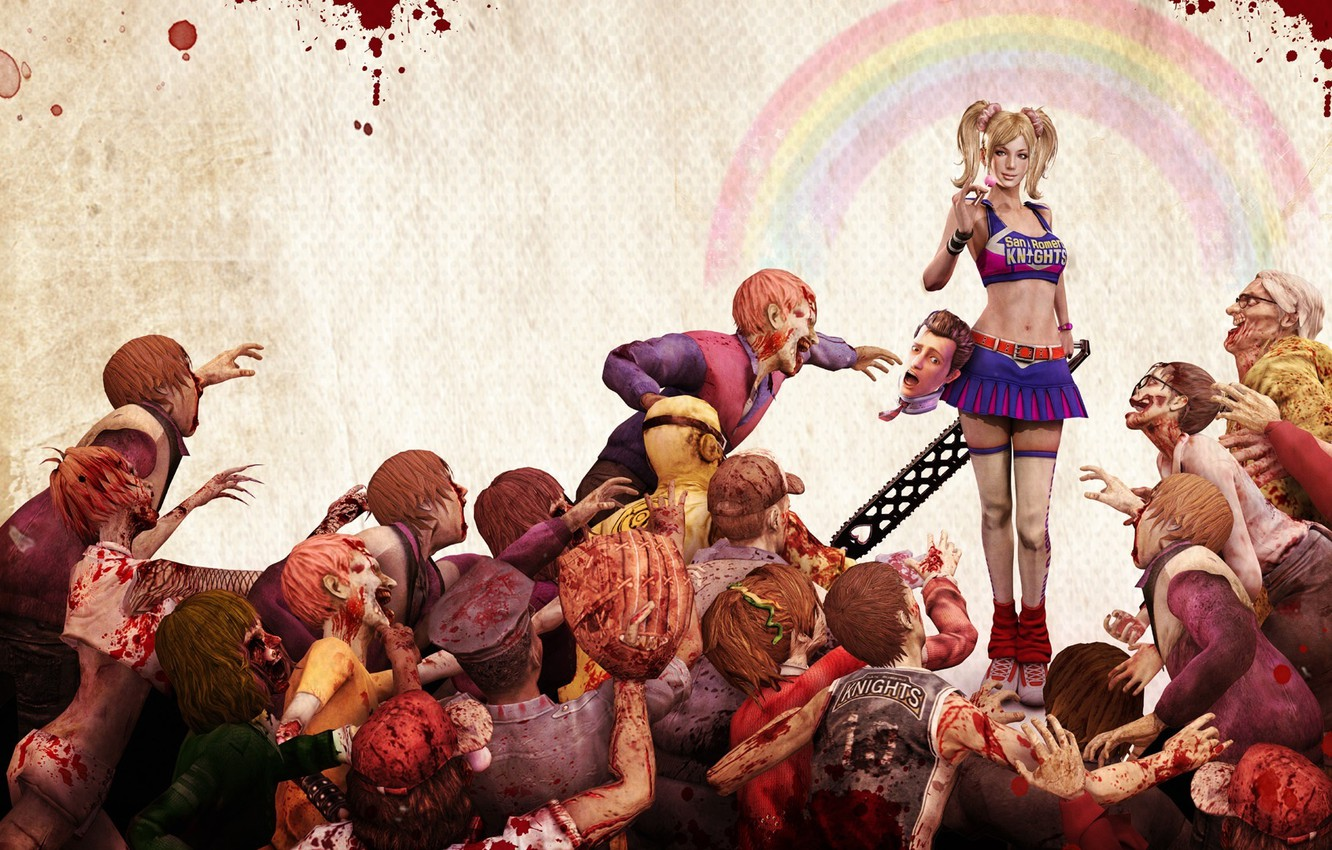 Photo wallpaper girl, blood, head, zombies, electric, Lollipop chainsaw