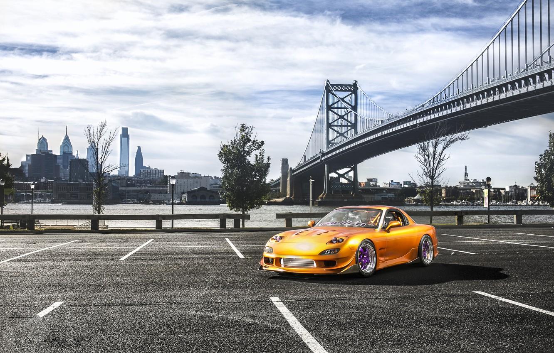Photo wallpaper bridge, the city, Parking, Mazda, Drift, Car, RX7