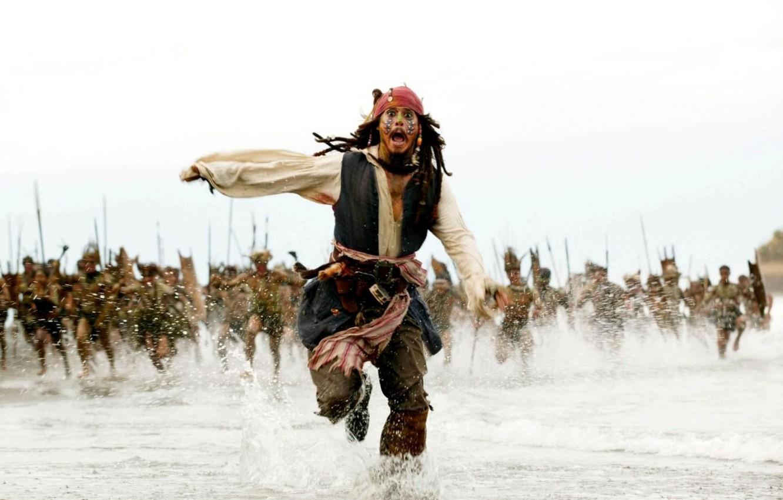 Photo wallpaper Johnny Depp, Sea, Running, Jack Sparrow, Pirates of the Caribbean, The natives