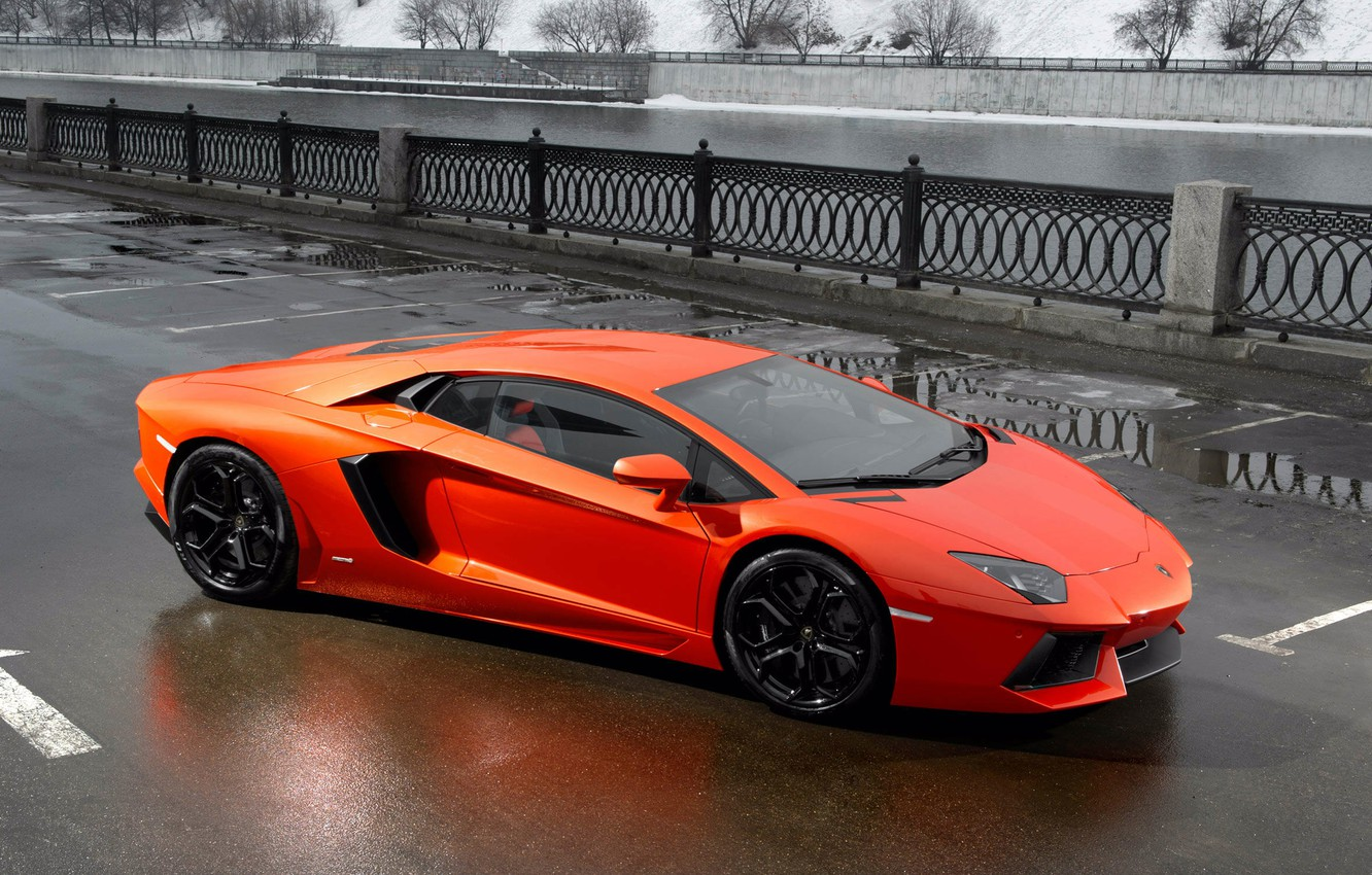 Photo wallpaper road, puddles, lamborghini, side view, aventador lp700-4