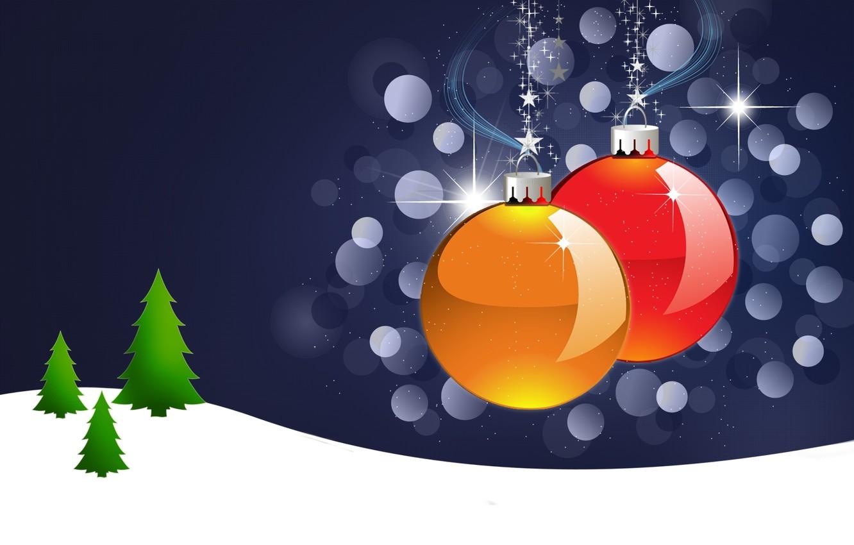 Photo wallpaper balls, snow, balls, toys, star, tree, new year, Christmas, herringbone, postcard