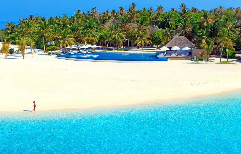 Photo wallpaper sand, sea, beach, the sun, tropics, palm trees, stay, shore, island, pool, The Maldives, resort, …
