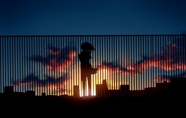 Photo wallpaper the sky, girl, the sun, clouds, sunset, the fence, home, anime, silhouette, art, kibunya 39