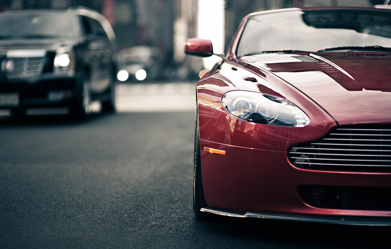 Photo wallpaper Aston Martin, Vantage, Style, Blur, Traffic