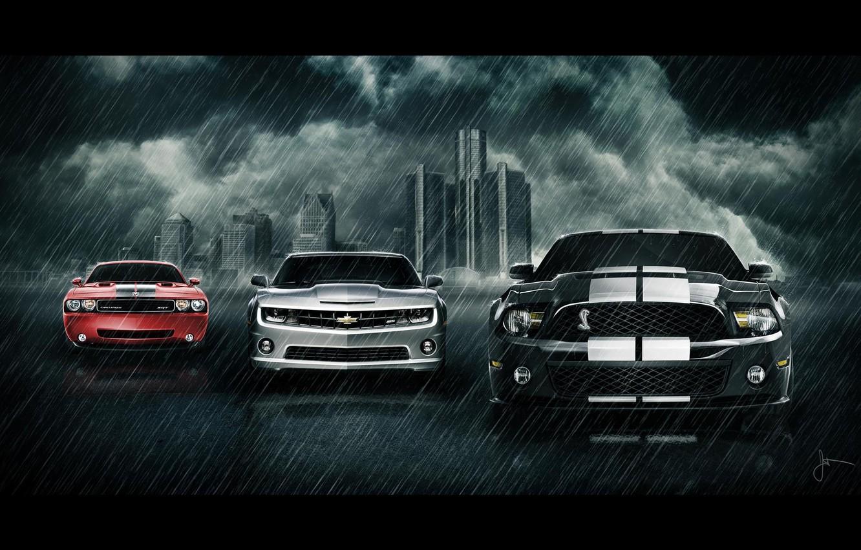 Photo wallpaper ford, chevrolet, dodge, car's